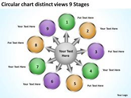 circular chart distinct views 9 stages Flow Arrow Network PowerPoint templates