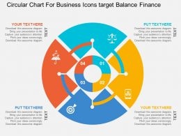 Circular Chart For Business Icons Target Balance Finance Flat Powerpoint Design