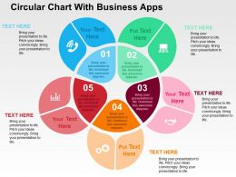 Circular Chart With Business Apps Flat Powerpoint Design