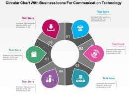 Circular Chart With Business Icons For Communication Technology Flat Powerpoint Design