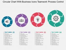Circular Chart With Business Icons Teamwork Process Control Flat Powerpoint Design