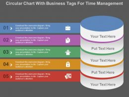 Circular Chart With Business Tags For Time Management Flat Powerpoint Design