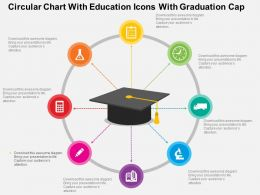 Circular Chart With Education Icons With Graduation Cap Flat Powerpoint Design