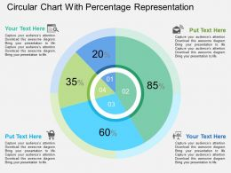 Circular Chart With Percentage Representation Flat Powerpoint Design