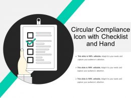 Circular Compliance Icon With Checklist And Hand