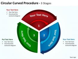 circular curved procedure with concentric arrows cut up into 3 stages powerpoint templates 0712
