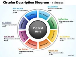 circular description diagram 8 stages powerpoint diagrams presentation slides graphics 0912