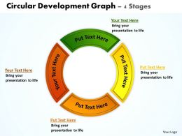 circular development graph 4 stages powerpoint diagrams presentation slides graphics 0912