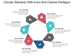 Circular Elements With Icons And Colored Pentagon