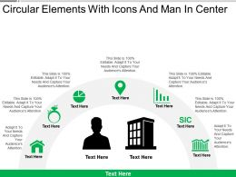 Circular Elements With Icons And Man In Center