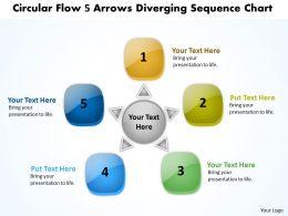 circular flow 5 arrows diverging sequence chart Process Software PowerPoint templates