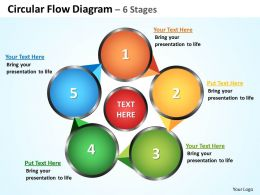 circular flow diagram 6 stages powerpoint diagrams presentation slides graphics 0912