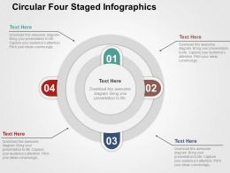 Circular Four Staged Infographics Flat Powerpoint Design