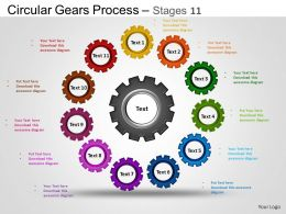 Circular Gears Flowchart Process Diagram Stages 11 ppt Templates 0412