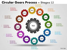 Circular Gears Flowchart Process Diagram Stages 12