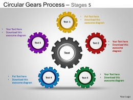 Circular Gears Flowchart Process Diagram Stages 5 ppt Templates 0412