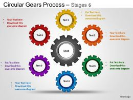 Circular Gears Flowchart Process Diagram Stages 6 ppt Templates 0412
