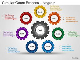 Circular Gears Flowchart Process Diagram Stages 7 and ppt Templates 0412