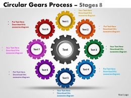 Circular Gears Flowchart Process Diagram Stages 8