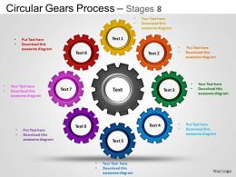 Circular Gears Flowchart Process Diagram Stages 8 and ppt Templates 0412