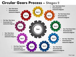 Circular Gears Flowchart Process Diagram Stages 9