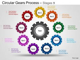 Circular Gears Flowchart Process Diagram Stages 9 ppt Templates 0412