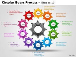 Circular Gears Process Stages 10 Powerpoint Slides