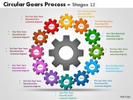 Circular Gears Process stages 12 Powerpoint Slides