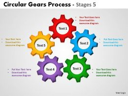 Circular Gears Process Stages 5 Powerpoint Slides