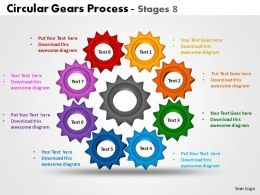 Circular Gears Process Stages 8 Powerpoint Slides