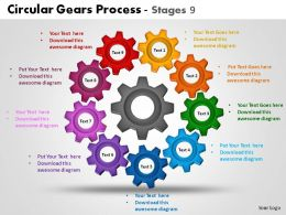 Circular Gears Process Stages 9 Powerpoint Slides