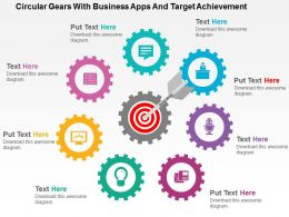 circular_gears_with_business_apps_and_target_achievement_flat_powerpoint_design_Slide01