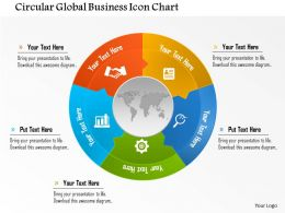 Circular Global Business Icon Chart Powerpoint Template