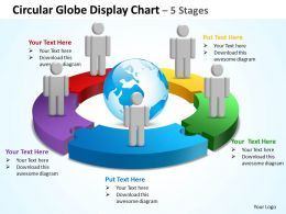 circular globe display chart 5 stages powerpoint diagrams presentation slides graphics 0912