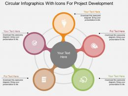 Circular Infgraphics With Icons For Project Development Flat Powerpoint Design