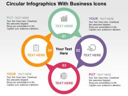Circular Infographics With Business Icons Flat Powerpoint Design