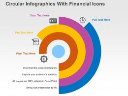 Circular Infographics With Financial Icons Flat Powerpoint Design