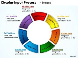 circular input process 7 stages powerpoint diagrams presentation slides graphics 0912
