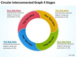 Circular Interconnected Graph 4 Stages Ppt Powerpoint Slides