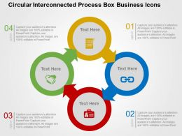 Circular Interconnected Process Box Business Icons Flat Powerpoint Design