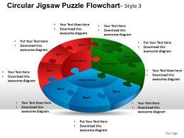 Circular Jigsaw Puzzle Flowchart Process Diagram Style 3 ppt Templates 0412