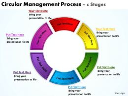 circular management process 6 stages powerpoint diagrams presentation slides graphics 0912