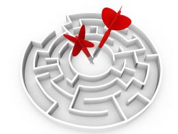 Circular Maze With Two Red Darts In Center Stock Photo