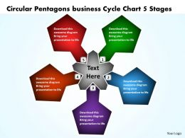 Circular Pentagons business Cycle Chart 5 Stages Powerpoint Templates ppt presentation slides 812