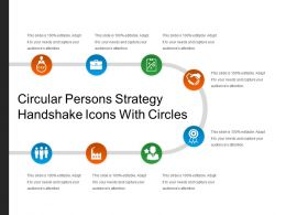 Circular Persons Strategy Handshake Icons With Circles