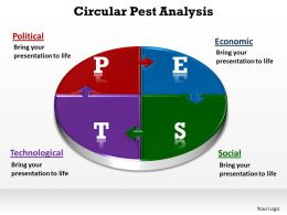 circular pest analysis made of jigsaw puzzles powerpoint diagram templates graphics 712