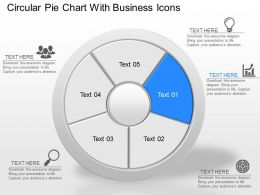 Circular Pie Chart With Business Icons Powerpoint Template Slide