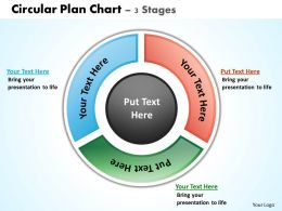 circular plan chart 3 stages powerpoint diagrams presentation slides graphics 0912