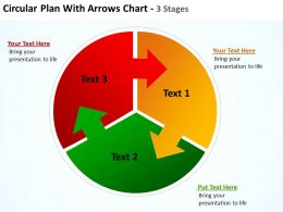 circular plan with arrows pointing into other pie chart parts chart 3 stages powerpoint templates 0712