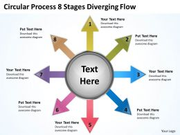 circular process 8 stages diverging flow Cycle PowerPoint Slides